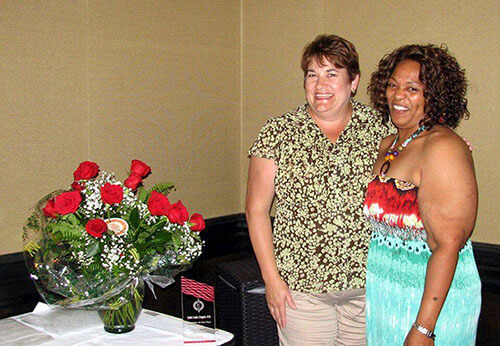 Pictured from left: Sue Seawright and Kita Haynes, Current President, NAWIC Chapter 38