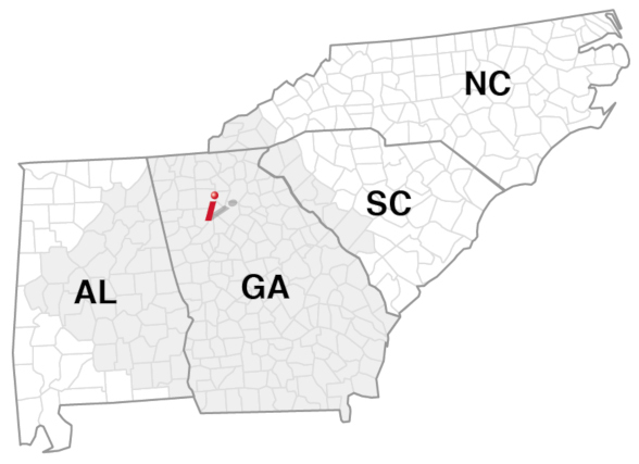 service area states: Georgia, Alabama, North Carolina, South Carolina