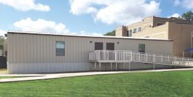 Modular classroom building at school.
