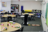 Interior of modular classroom.