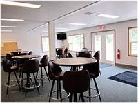 Modular clubhouse building interior.
