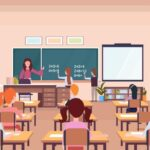 an illustration of a teacher in a classroom full of students