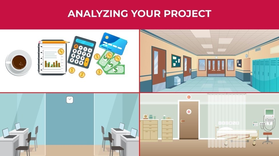 A composite image of four illustrations, including a school hallway, an office, a hospital room, and financial planning materials.
