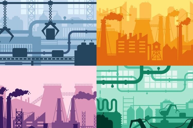 An illustration consisting of four squares, each showing a type of industrial plant or refinery.