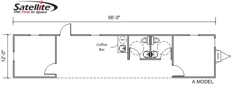 A floor plan illustration of the Satellite Shelters A Model s-plex modular building.