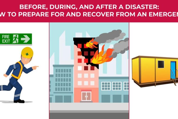 an illustration of a man running for an exit, a building on fire, and a modular building