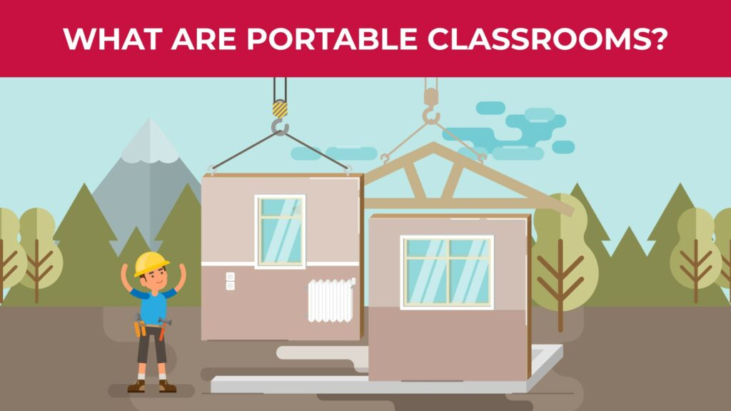 an illustration of a construction worker helping guide the setup of portable classrooms