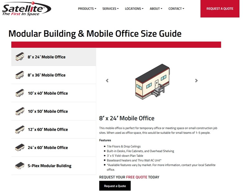 a screen shot of Satellite's digital size guide for modular buildings and mobile offices