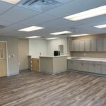 interior of modular educational building childcare room view of restroom and counters