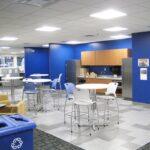 open breakroom with kitchenette