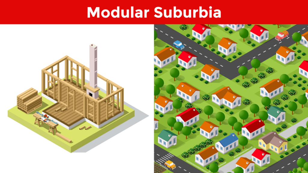 a birds-eye view of modular suburbia and its many homes
